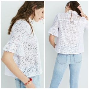 Madewell Eyelet Lace Bell Sleeve Oversized Top